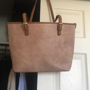 Light pink & brown tote